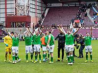 26th December 2019; Tynecastle Park, Edinburgh, Scotland; Scottish Premiership Football, Heart of Midlothian versus Hibernian FC; Hibernian team celebrates after winning game 2-0 - Editorial Use