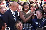 First Lady Michelle Obama poses for a photo with the University of Nevada band following a rally Wednesday morning, Oct. 3, 2012, on the quad at the University of Nevada, Reno campus..Photo by Cathleen Allison