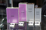 Close up of priced Chanel perfume products, UK
