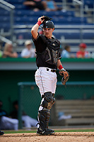Batavia Muckdogs catcher Gunner Pollman (7) during a NY-Penn League game against the Williamsport Crosscutters on August 27, 2019 at Dwyer Stadium in Batavia, New York.  Williamsport defeated Batavia 11-4.  (Mike Janes/Four Seam Images)