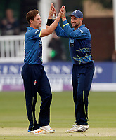 Matt Henry (L) of Kent is congratulated by Alex Blake after bowling Myburgh during the Royal London One Day Cup game between Kent and Somerset at the St Lawrence Ground, Canterbury, on May 29, 2018