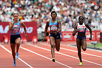 Dafne Schippers of Netherlands and Blessing Okagbare-Ighoteguonor of Nigeria and Daryll Neita of Great Britain compete in the womenís 100 metres during the Muller Anniversary Games at The London Stadium on 9th July 2017