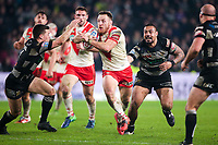 Picture by Alex Whitehead/SWpix.com - 10/03/2017 - Rugby League - Betfred Super League - Hull FC v St Helens - KCOM Stadium, Hull, England - St Helens' James Roby is tackled by Hull FC's Jamie Shaul