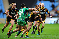 Kurtley Beale of Wasps takes on the Connacht defence. European Rugby Champions Cup match, between Wasps and Connacht Rugby on December 11, 2016 at the Ricoh Arena in Coventry, England. Photo by: Patrick Khachfe / JMP