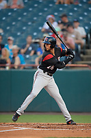 Richmond Flying Squirrels Gio Brusa (28) at bat during an Eastern League game against the Bowie Baysox on August 15, 2019 at Prince George's Stadium in Bowie, Maryland.  Bowie defeated Richmond 4-3.  (Mike Janes/Four Seam Images)