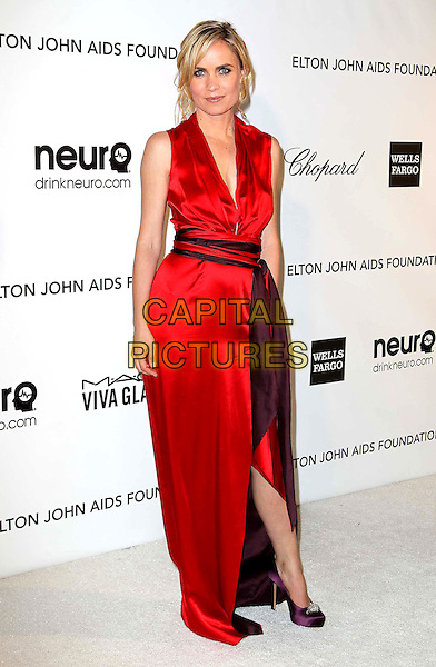 Radha Mitchell.21st Annual Elton John Academy Awards Viewing Party held at West Hollywood Park, West Hollywood, California, USA..February 24th, 2013.oscars full length dress slit split purple waistband red silk satin sleeveless.CAP/ADM/KB.©Kevan Brooks/AdMedia/Capital Pictures.