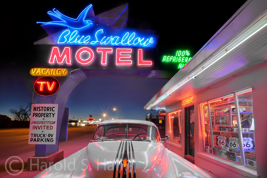 The Blue Swallow Motel on Route 66 is an iconic motel in Tucumcari, New Mexico, famous for its restored neon sign