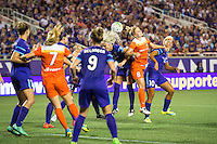 Orlando, Florida - Saturday, April 23, 2016: Houston Dash defender Ellie Brush (8) battles both Orlando Pride forward Lianne Sanderson (10) and Orlando Pride midfielder Kaylyn Kyle (6) for a cross during an NWSL match between Orlando Pride and Houston Dash at the Orlando Citrus Bowl.