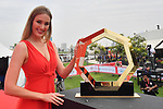The trophy is presented on stage before the start of Stage 5 of the 2019 UAE Tour, running 181km form Sharjah to Khor Fakkan, Dubai, United Arab Emirates. 28th February 2019.<br /> Picture: LaPresse/Massimo Paolone | Cyclefile<br /> <br /> <br /> All photos usage must carry mandatory copyright credit (© Cyclefile | LaPresse/Massimo Paolone)