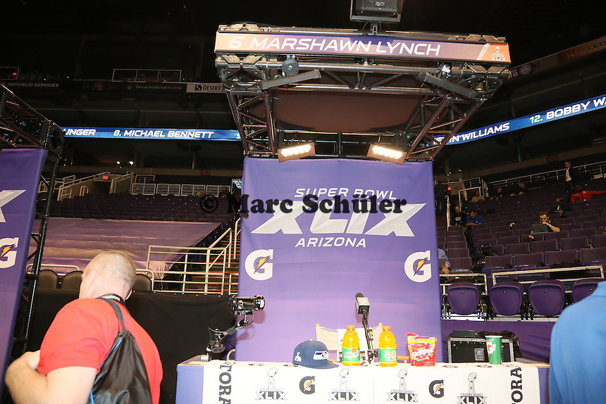 Platz des skandalumwitterten RB Marshawn Lynch (Seattle) blieb leer - Super Bowl XLIX Media Day, US Airways Center, Phoenix