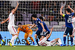 Goalkeeper Gonda Shuichi of Japan (L2) reaches for the ball after an attempt at goal by Iran during the AFC Asian Cup UAE 2019 Semi Finals match between I.R. Iran (IRN) and Japan (JPN) at Hazza Bin Zayed Stadium  on 28 January 2019 in Al Alin, United Arab Emirates. Photo by Marcio Rodrigo Machado / Power Sport Images