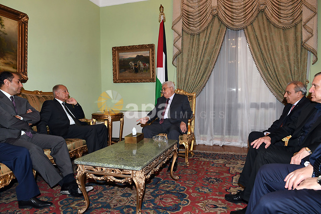 Palestinian President Mahmoud Abbas meets with Secretary-General of the Arab League Ahmed Aboul Gheit in Cairo, Egypt, on July 8, 2017. Photo by Thaer Ganaim