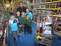Pictured: Wayne Routledge Wednesday 08 December 2016<br />Re: Swansea City FC players have bought Christmas gifts for 60 children at Smyths toy store in Swansea, south Wales.