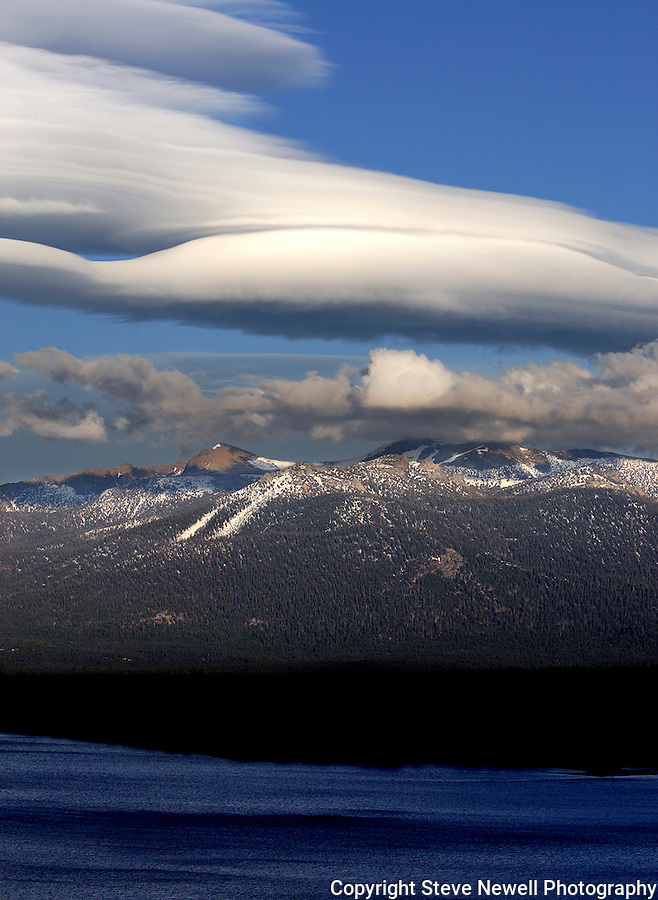 """Freel's Starship"" Black and White Freel Peak- Lake Tahoe, CA. This spectacular lenticular cloud formed over South Lake Tahoe and Freel Peak, 10,881 ft and stretched to the North side of Lake Tahoe. Freel Peak is one of my favorite peaks in California. Lenticular clouds only form in a few mountain ranges around the world."