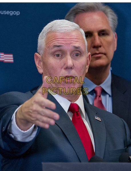 United States Vice President-elect Mike Pence speaks to reporters after meeting with US House Republican Leadership on their plans to repeal the Affordable Care Act (ACA) in the US Capitol in Washington, DC on Wednesday, January 4, 2017.<br /> CAP/MPI/CNP/RS<br /> &copy;RS/CNP/MPI/Capital Pictures