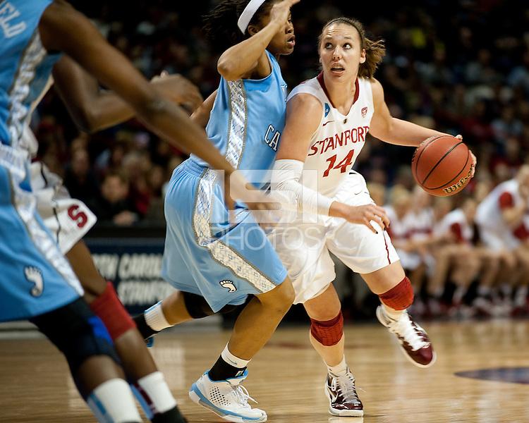 SPOKANE, WA - MARCH 26, 2011: Kayla Pedersen of Stanford Women's Basketball vs University of North Carolina, NCAA West Regionals on March 26, 2011.