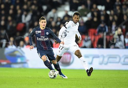11.01.2017. Paris, France. French league cup football, Paris Saint Germain versus FC Metz.  Marco Verrati ( PSG ) turns away from the challenge from Habib Diallo ( Metz )