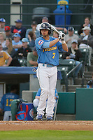 Myrtle Beach Pelicans infielder Daniel Lockhart (7) during a game against the Winston-Salem Dash at Ticketreturn.com Field at Pelicans Ballpark on April 23, 2015 in Myrtle Beach, South Carolina.  Myrtle Beach defeated Winston-Salem  6-0. (Robert Gurganus/Four Seam Images)