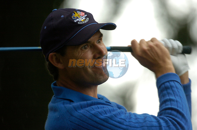 Ryder Cup K Club Straffin Co Kildare..European Ryder Cup Team player Padraig Harrington tees off from the 17th tee box during the morning fourball session of the second day of the 2006 Ryder Cup at the K Club in Straffan, County Kildare, in the Republic of Ireland, 23 September, 2006..Photo: Barry Cronin/ Newsfile.