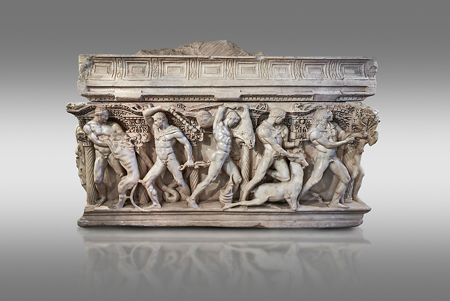 "Side panel of a Roman relief sculpted Hercules sarcophagus with kline couch lid, ""Columned Sarcophagi of Asia Minor"" style typical of Sidamara, 250-260 AD, Konya Archaeological Museum, Turkey. Against a grey background"