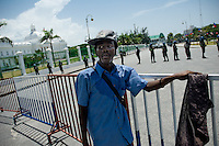 A Haitian man and Nigerian UN policemen in front of the Presidential Palace in Port-au-Prince, Haiti. The United Nations Stabilization Mission In Haiti (MINUSTAH) is a peacekeeping mission that has been installed in Haiti in 2004 by the United Nations. In spite of the undoubted efforts that have been made by the UN, MINUSTAH soldiers became a symbol of the occupation and therefore they are generally not welcomed by the Haitian population.