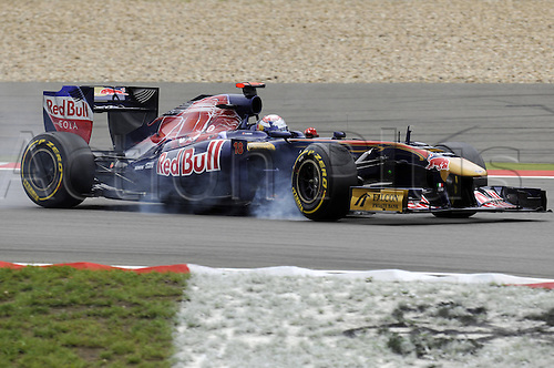 22 07 2011 Sebastien Buemi SUI Toro Rosso Smokes his tyres in heavy braking  Formula 1 Nuerburgring GP Germany