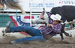 Jon Laine Herl competes in the Steer Wrestling event during the Reno Rodeo on Sunday, June 23, 2019.