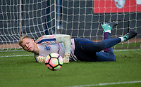 Goalkeeper Aaron Ramsdale (Bournemouth) of England U20 warms up ahead of the International friendly match between England U20 and Netherlands U20 at New Bucks Head, Telford, England on 31 August 2017. Photo by Andy Rowland.