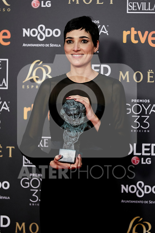 Isabel Pena (Best Screeplay award for the film 'El Reino') attends to 33rd Goya Awards at Fibes - Conference and Exhibition  in Seville, Spain. February 02, 2019. (ALTERPHOTOS/A. Perez Meca)