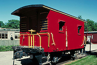 Red railroad caboose.  May not be used in an elementary school dictionary. Cleveland Ohio USA.