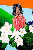 Street art work of Oprah at Millennium Park.  Chicago Illinois USA