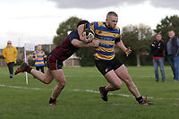 Upminster go over for their second try during Upminster RFC vs East London RFC, London 3 Essex Division Rugby Union at Hall Lane Playing Fields on 19th October 2019