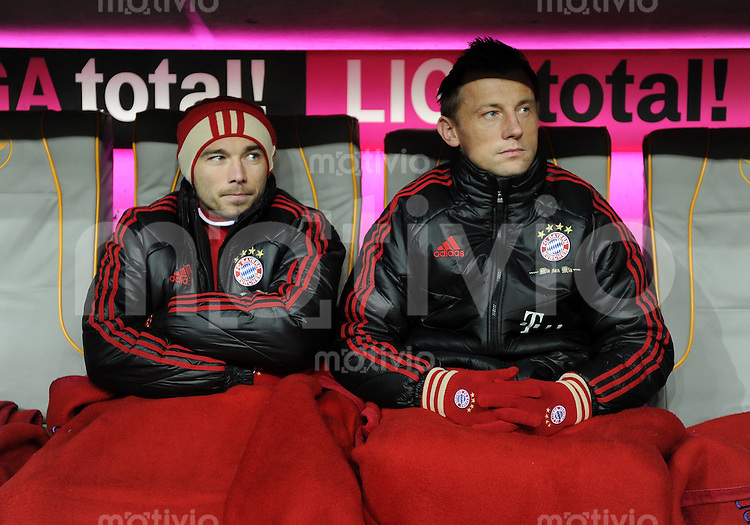 FUSSBALL   1. BUNDESLIGA  SAISON 2011/2012   13. Spieltag FC Bayern Muenchen - Borussia Dortmund        19.11.2011 Danijel Pranjic , Ivica Olic (v. li., FC Bayern Muenchen)
