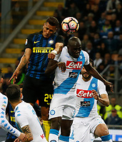 Jeison Murillo and Kalidou Koulibaly  during the  italian serie a soccer match,between Inter FC  and SSC Napoli      at  the San Siro   stadium in Milan  Italy , April  30, 2017