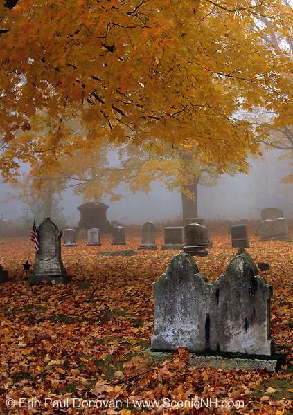 Greenlawn Cemetery during the autumn months. Located in Mount Vernon, New Hampshire USA, which is part of scenic New England....Note: See CTM6049-03