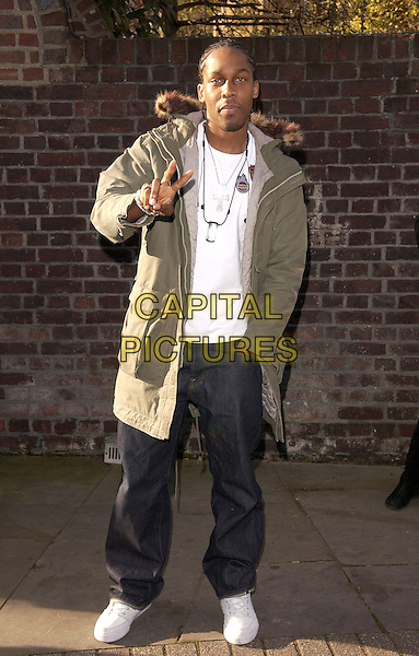 """LEMAR.at the 20th anniversary  re-recording of the 1984 charity single """"Do They Know Its Christmas"""" (Band Aid 20) Air Studios, Hampstead, London..November 14th 2004..full length green coat parka.Ref: FIN.www.capitalpictures.com.sales@capitalpictures.com.©Steve Finn/Capital Pictures ."""