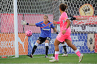 Western New York Flash goalkeeper Ashlyn Harris (24) watches a a ball goes wide. The Western New York Flash defeated Sky Blue FC 2-0 during a Women's Professional Soccer (WPS) match at Yurcak Field in Piscataway, NJ, on July 17, 2011.