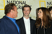 """30 October 2017 - Los Angeles, California - Arnold Schwarzenegger, Patrick Schwarzenegger and Maria Shriver. National Geographic's """"The Long Road Home"""" Premiere held at Royce Hall in UCLA in Los Angeles. Photo Credit: AdMedia"""
