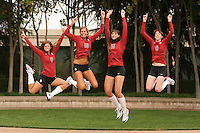STANFORD, CA - AUGUST 12:  Gabi Ailes (9), Alix Klineman (10), Stephanie Browne (15) and Cassidy Lichtman (8) of the Stanford Cardinal during picture day on August 12, 2008 at Arrillaga Plaza in Stanford, California.