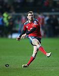 Munster outside half JJ Hanrahan kicks a conversion.<br /> RaboDirect Pro12<br /> Ospreys v Munster<br /> Liberty Stadium<br /> 23.02.14<br /> <br /> ©Steve Pope-SPORTINGWALES
