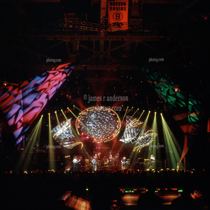 Grateful Dead in Concert 29 September 1994 at The Boston Garden. Image No. 94GDC52-07. Stage, Set and Lighing Design View. Photography taken from the lighting booth for Candace Brightman LD.