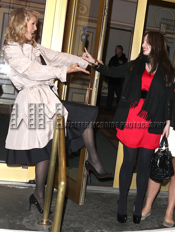 Christie Brinkley with Alexa Ray Joel at the stage door greeting fans after making her Broadway Debut in CHICAGO at the Ambassador Theatre in New York City.