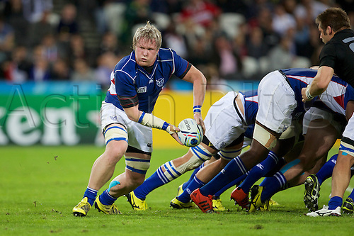 24.09.2015. Olympic Stadium, London, England. Rugby World Cup. New Zealand versus Namibia. Namibia lock Janco Venter clears the ball from a scrum.