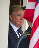 United States President Donald J. Trump awaits the arrival of President Abdel Fattah Al Sisi of Egypt to the White House in Washington, DC on Monday, April 3, 2017.<br /> Credit: Ron Sachs / CNP