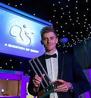 Picture by Allan McKenzie/SWpix.com - 05/10/17 - Cricket - Yorkshire County Cricket Club Gala Dinner 2017 - Elland Road, Leeds, England - Ben Coad with the Supporters Player of the Year Award.
