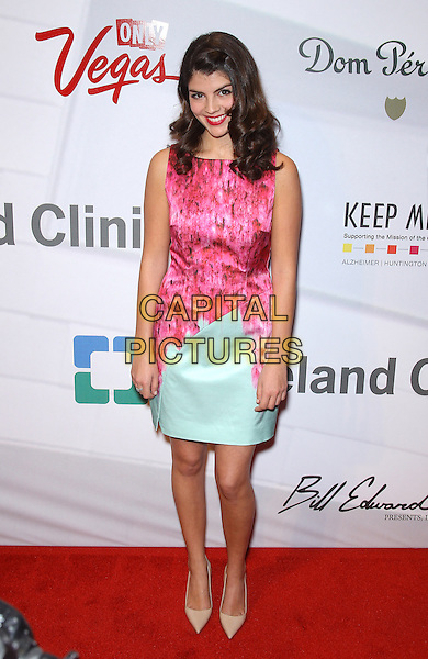 "Nikki Yanofsky.Attending Keep Memory Alive's 17th Annual ""Power of Love Gala"" honors Quincy Jones and Sir Michael Caine with 80th Birthday Celebration at MGM Grand, Las Vegas, NV, USA, 13th April 2013..full length pink sleeveless dress green mint print patterned pointy pointed nude beige shoes .CAP/ADM/MJT.© MJT/AdMedia/Capital Pictures"