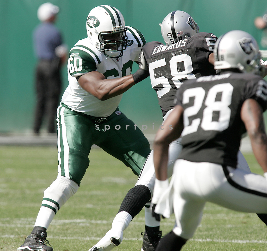 D'BRICKASHAW FERGUSON, of the New York Jets, in action against the Oakland Raiders during the Jets game in Oakland. California on October 19, 2008. ..Raiders win 16-13