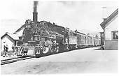 D&amp;RGW #477 K-28 in Durango with passenger consist at station.<br /> D&amp;RGW  Durango, CO  10/1941