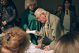 An old man made a lot of drama at the polling station, trying to tear the voting sheet and offend members of the election commission.