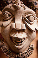Traditional carved facemask at the museum in the grounds of the Fons (local tribal leader) Palace at Bafut, Cameroon